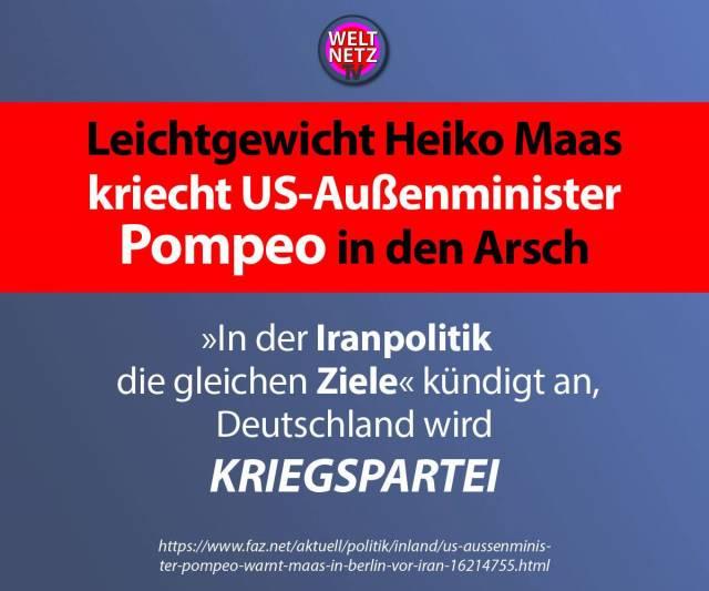 Leichtgewicht Heiko Maas kriecht US-Außenminister Pompeo in den Arsch