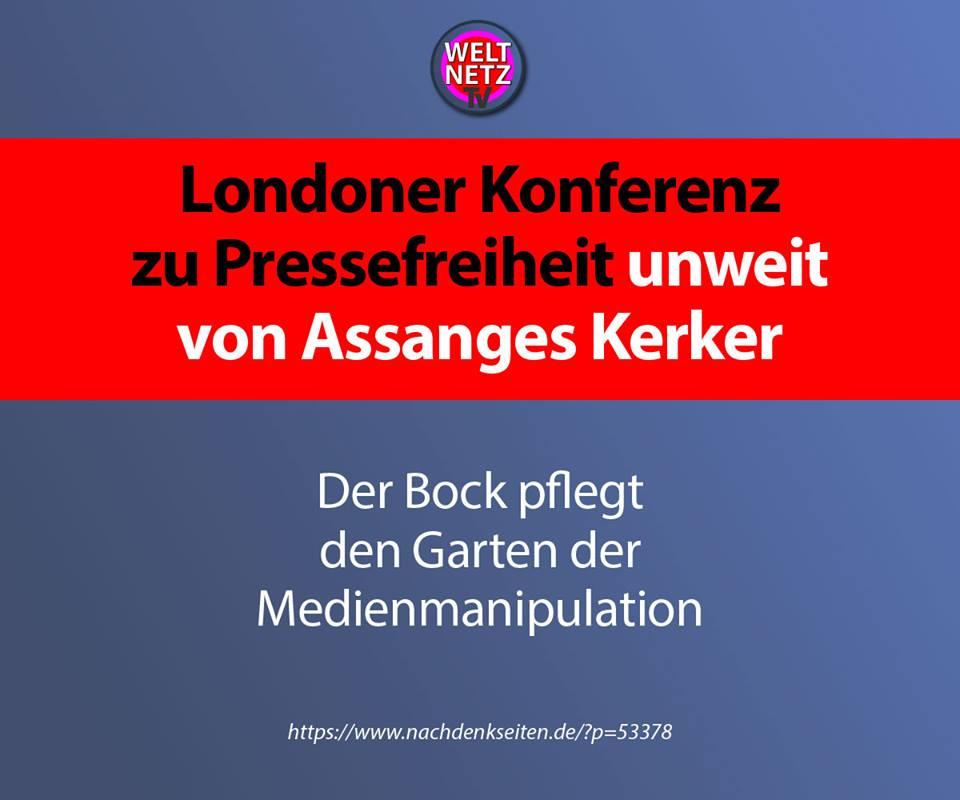 Londoner Konferenz zu Pressefreiheit unweit von Assanges Kerker