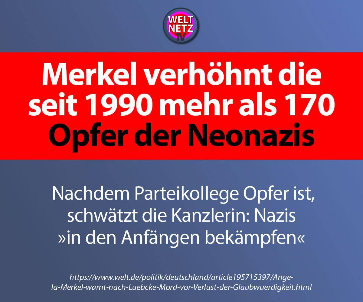 Merkel verhöhnt die seit 1990 mehr als 170 Opfer der Neonazis
