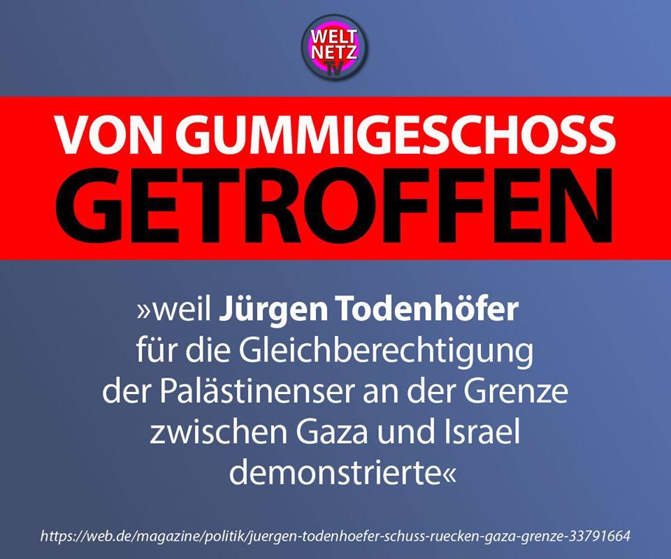 Jürgen Todenhöfer an Israels Grenze von Gummigeschoss getroffen