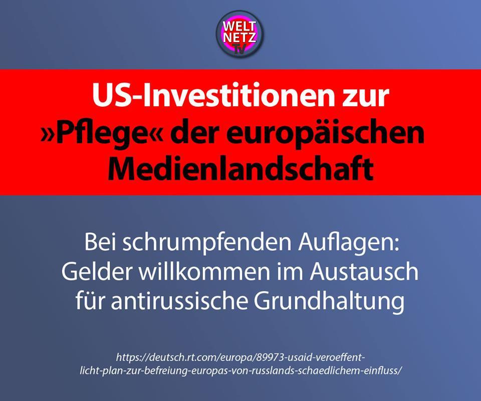 """US-Investitionen zur """"Pflege"""" der europäischen Medienlandschaft"""