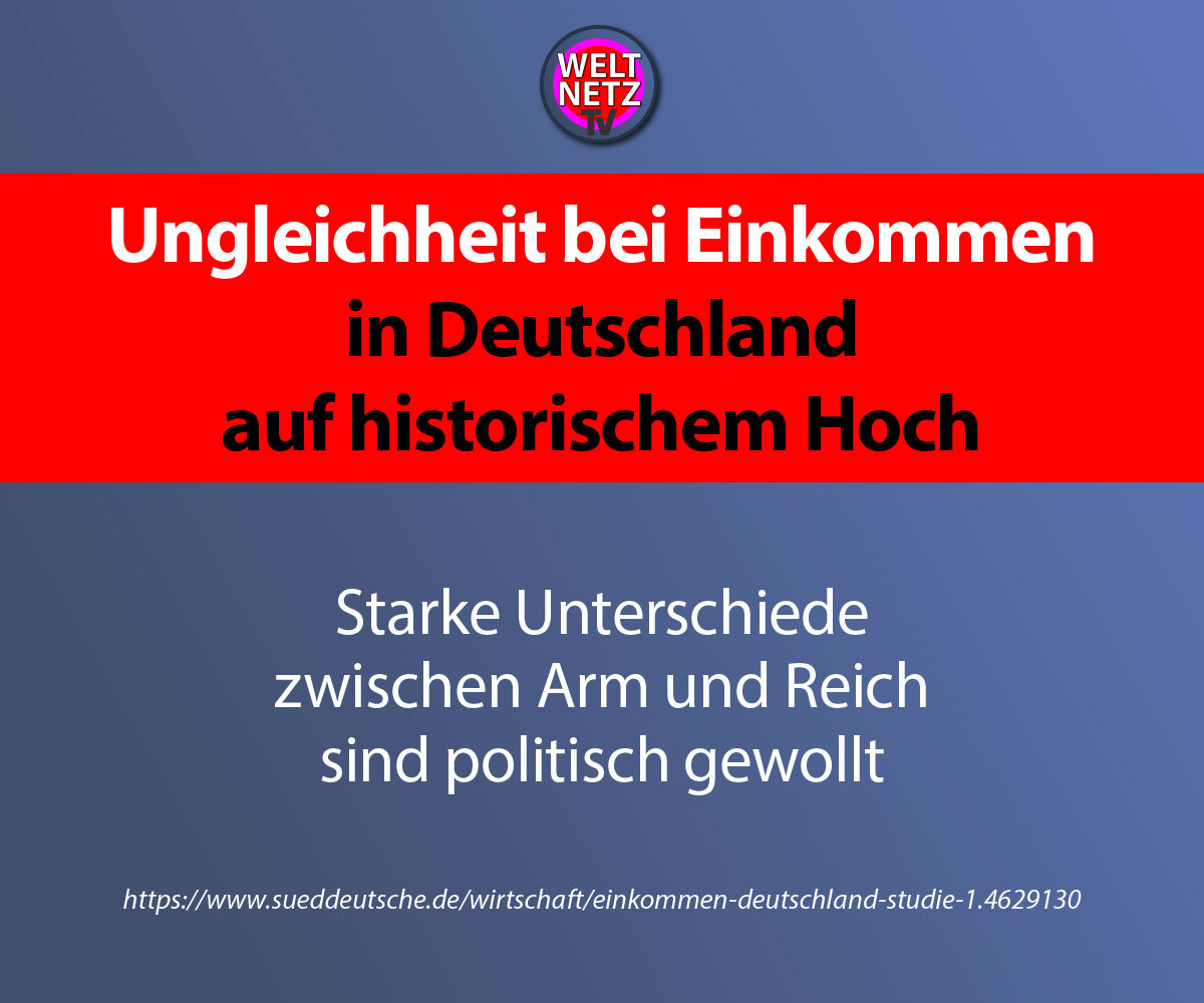 Ungleichheit bei Einkommen in Deutschland auf historischem Hoch