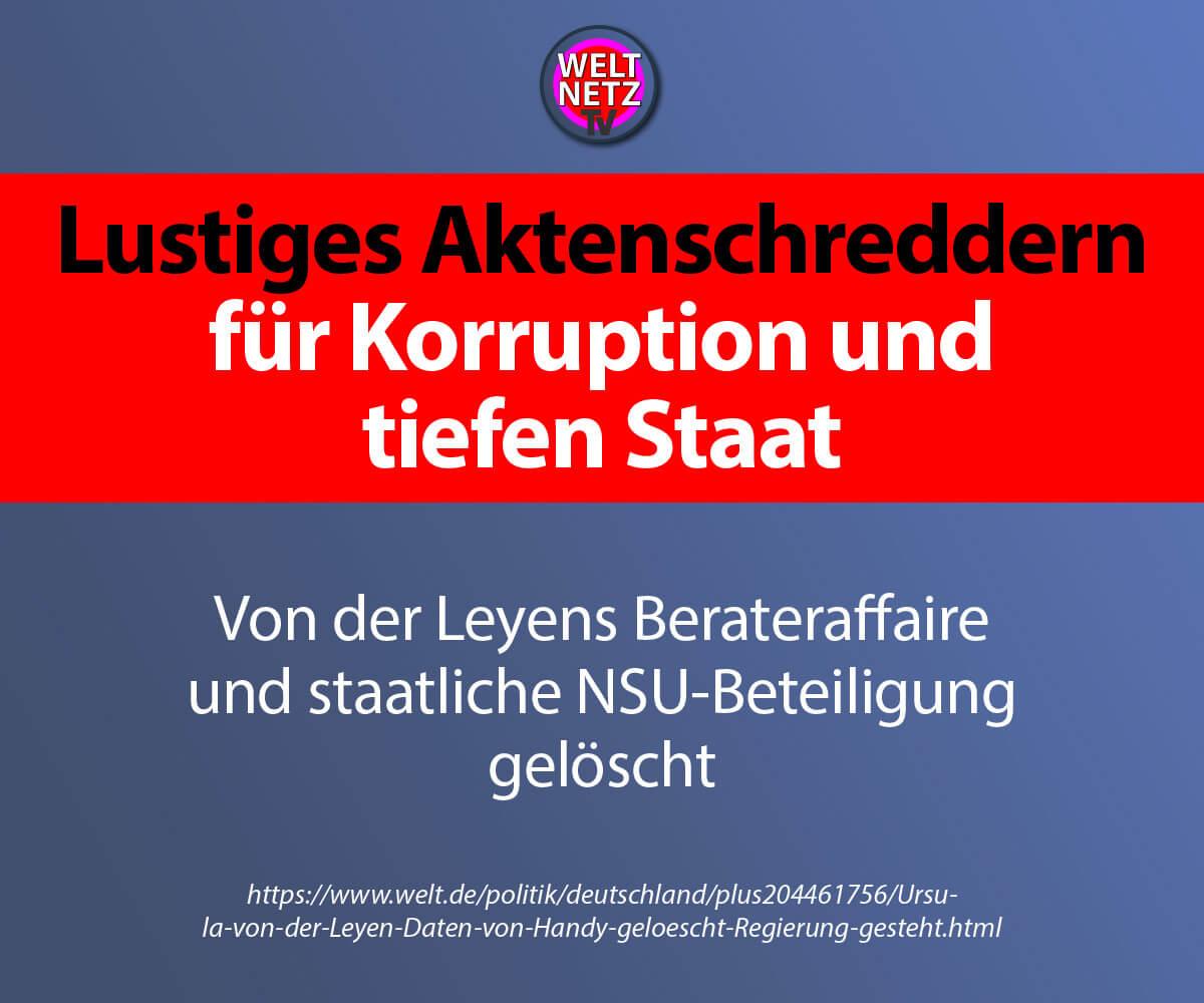 Lustiges Aktenschreddern für Korruption und tiefen Staat