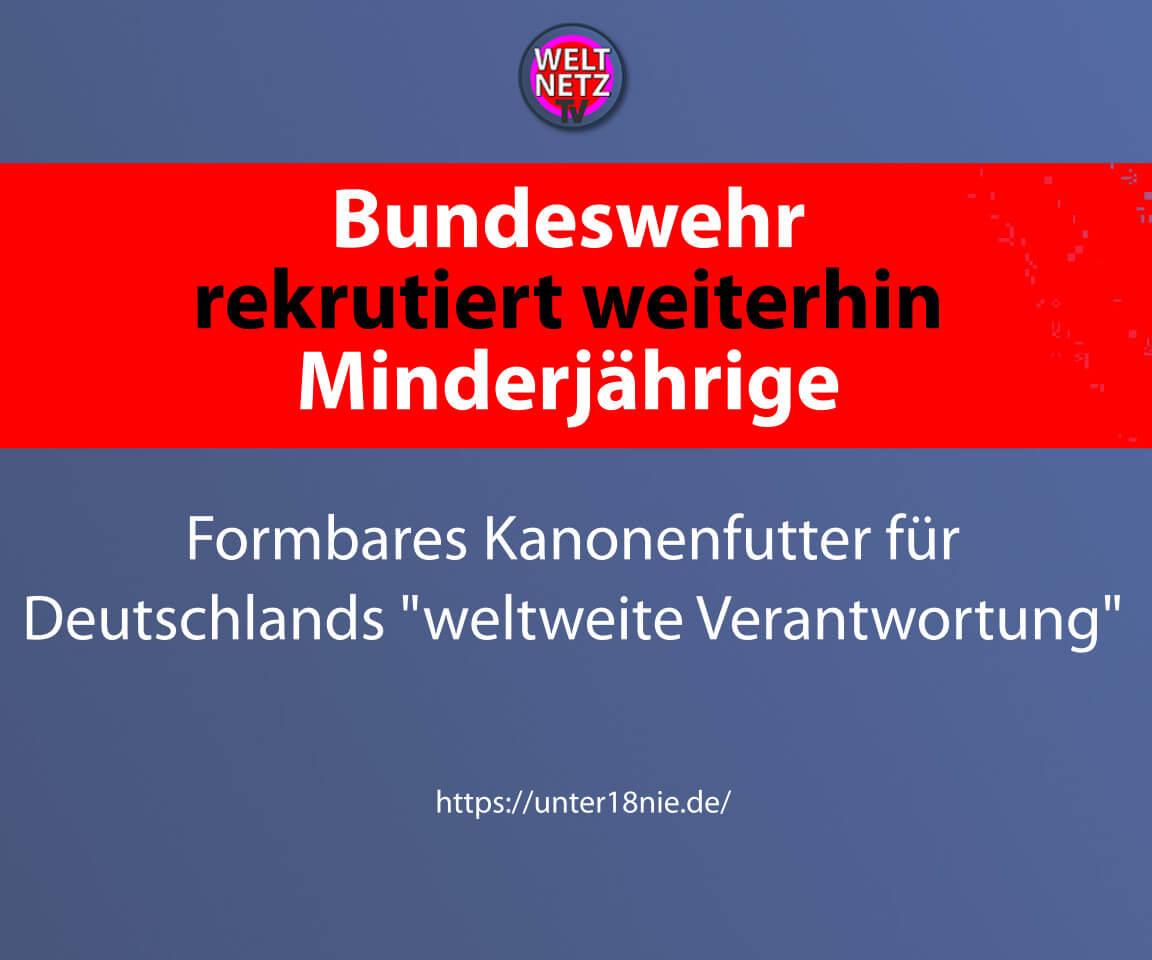 Bundeswehr rekrutiert weiterhin Minderjährige