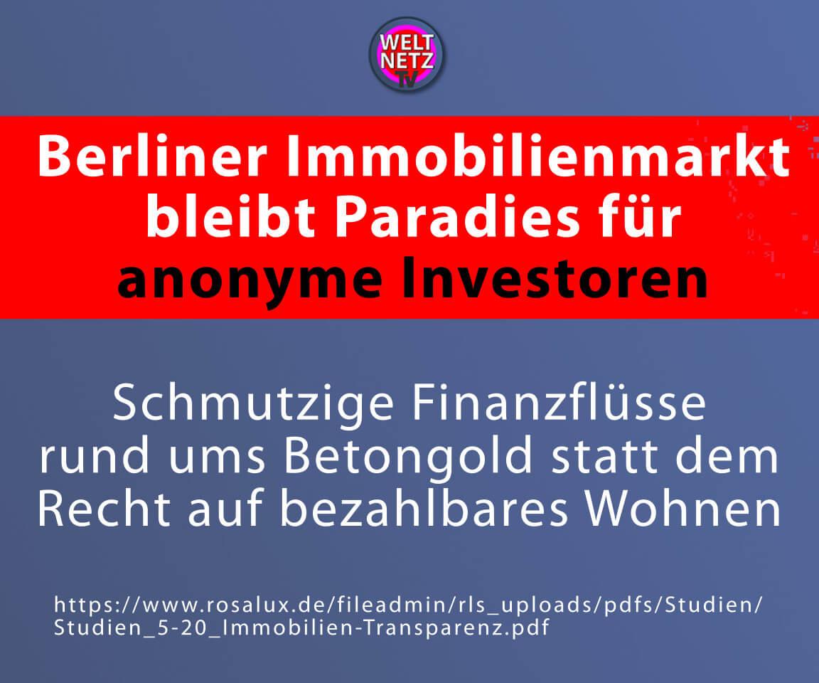 Berliner Immobilienmarkt bleibt Paradies für anonyme Investoren