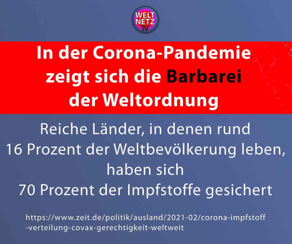 In der Corona-Pandemie zeigt sich die Barbarei der Weltordnung