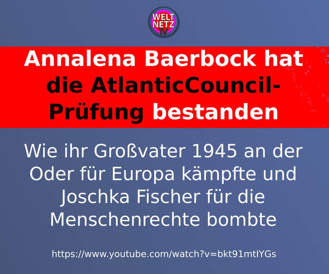 Annalena Baerbock hat die AtlanticCouncil-Prüfung bestanden