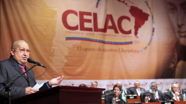 Venezuelas Präsident Hugo Chávez auf dem Gründungstreffen der Celac