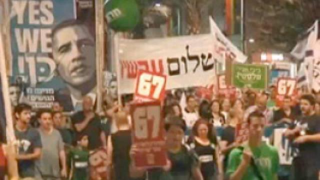Israelis demonstrieren für Grenzen von '67