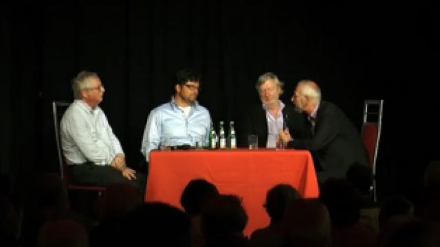 Veranstaltung mit Peter-Ferdinand Koch, Erich Schmidt-Eenboom, Arnold Schölzel und Diether Dehm