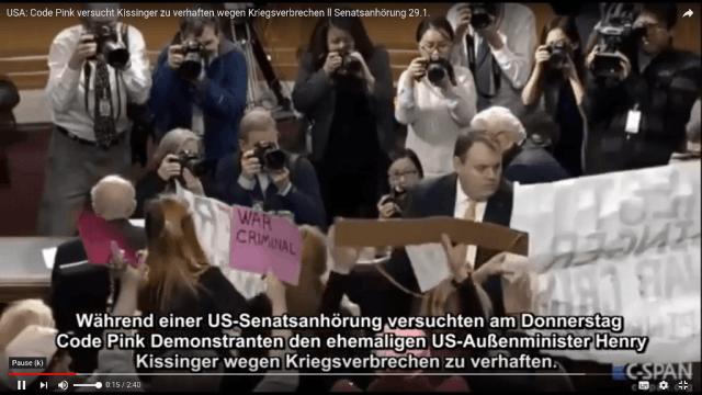 Code Pink versucht Kissinger zu verhaften wegen Kriegsverbrechen