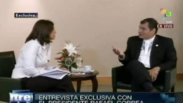 Rafael Correa im Interview mit Telesur