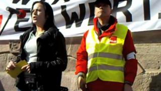 Schlecker Betriebsrätin auf ÖD Warnstreikkundgebung