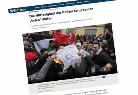 """Mainstream Medien über """"Tod den Juden""""-Rufe"""