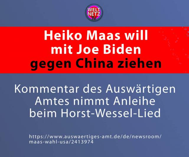 Heiko Maas will mit Joe Biden gegen China ziehen