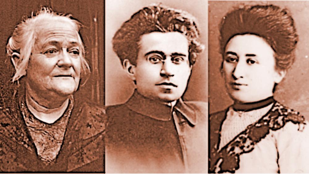 Collage: Clara Zetkin, Antonio Gramsci, Rosa Luxemburg
